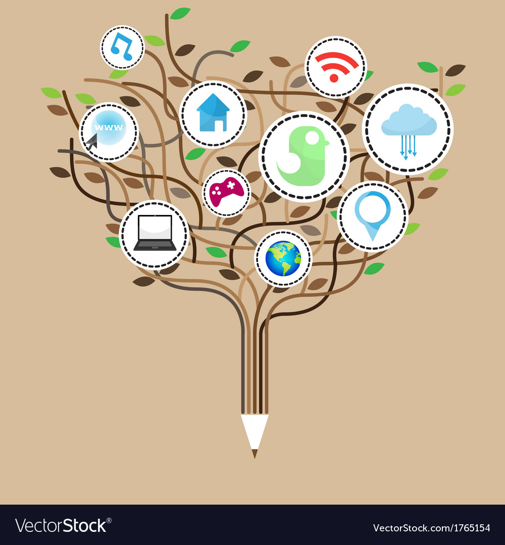 Social network education concept pencil tree vector | Price: 1 Credit (USD $1)