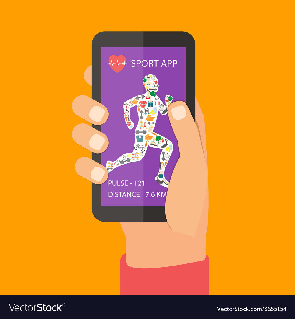 Sport fitness app concept on touchscreen vector | Price: 1 Credit (USD $1)