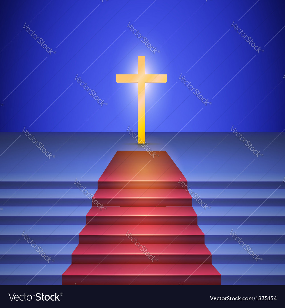 Stairway with red carpet leads to cross standing vector | Price: 1 Credit (USD $1)