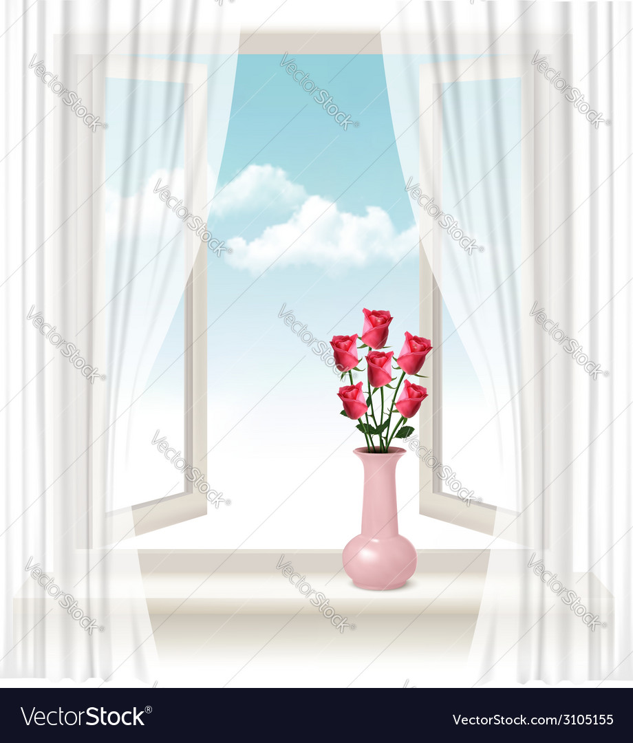Background with an open window and a vase with vector | Price: 1 Credit (USD $1)
