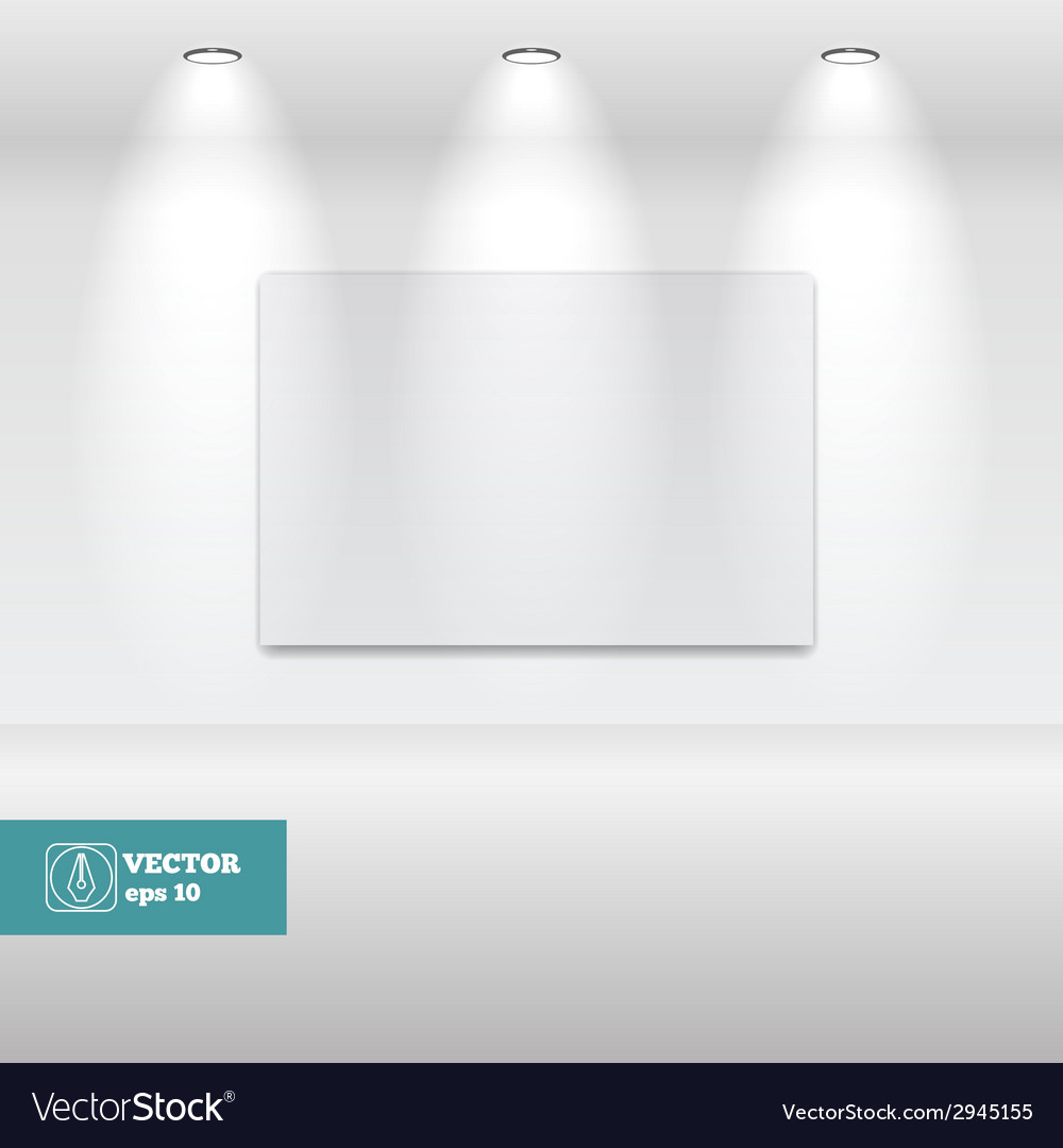 Empty white frame in art gallery vector | Price: 1 Credit (USD $1)