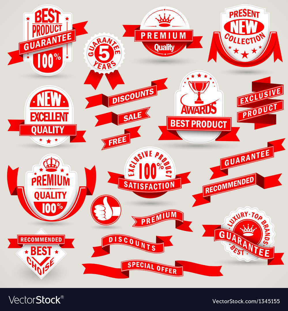 Premium set of labels and ribbons vector | Price: 1 Credit (USD $1)