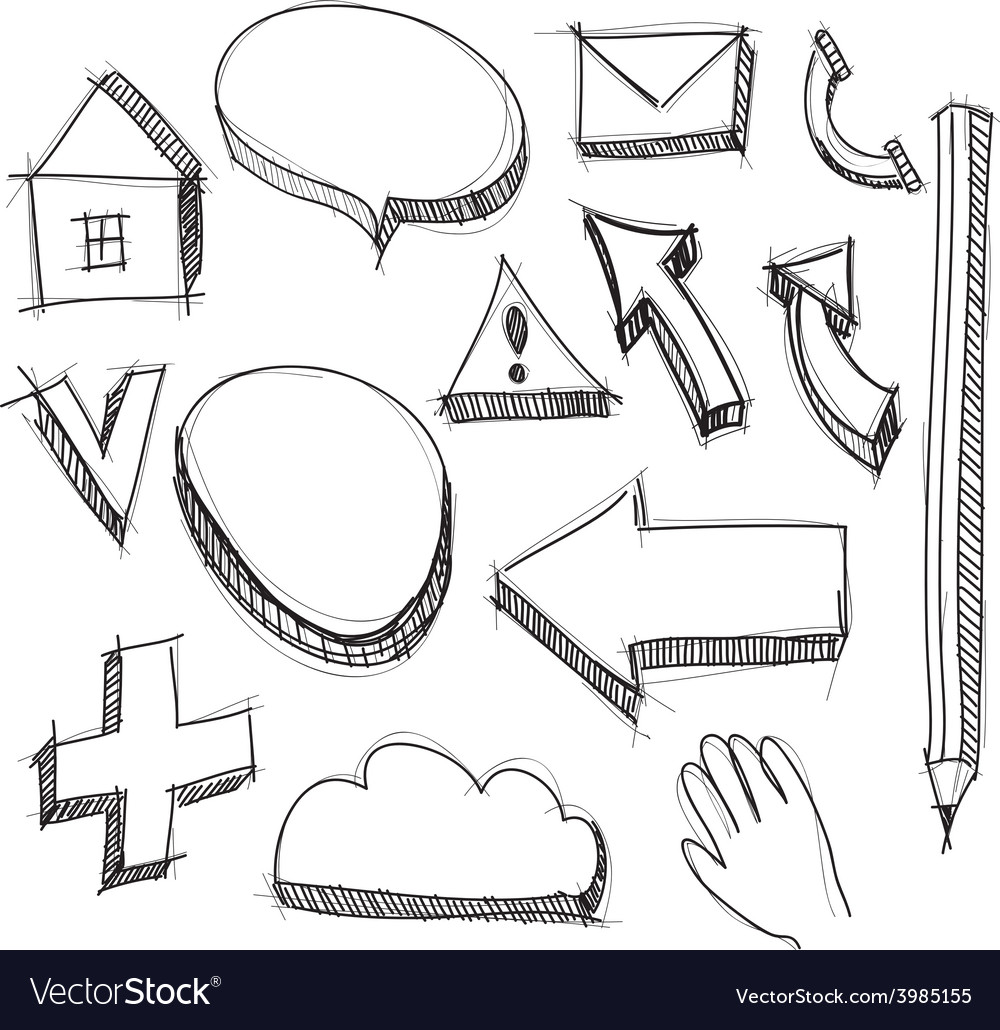 Set hand drawn icons black lines on white vector | Price: 1 Credit (USD $1)