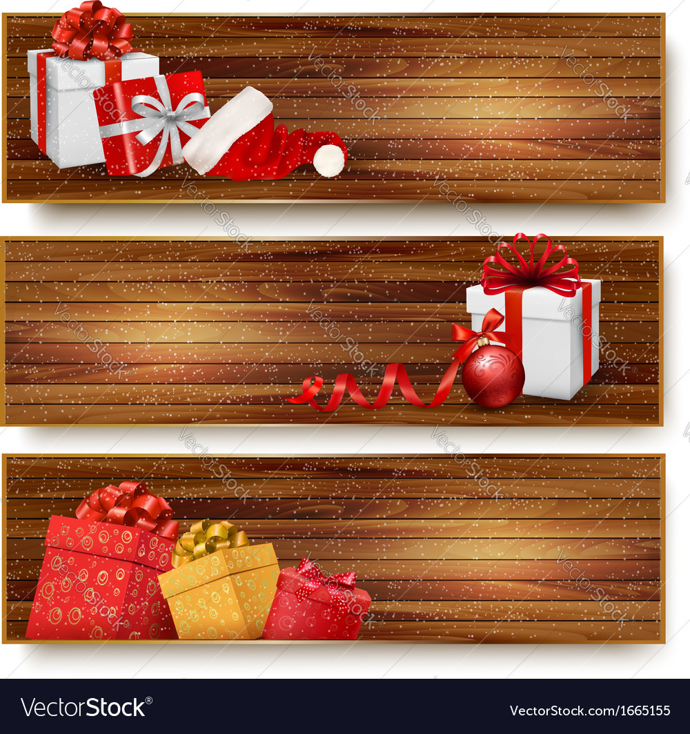 Three christmas banners with gift boxes and santa vector | Price: 1 Credit (USD $1)