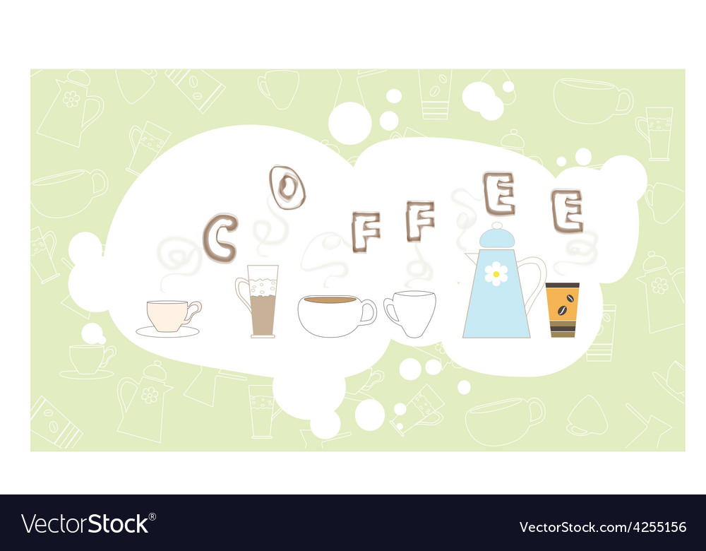 Coffee pattern drink breakfast kitchen cup bubble vector | Price: 1 Credit (USD $1)