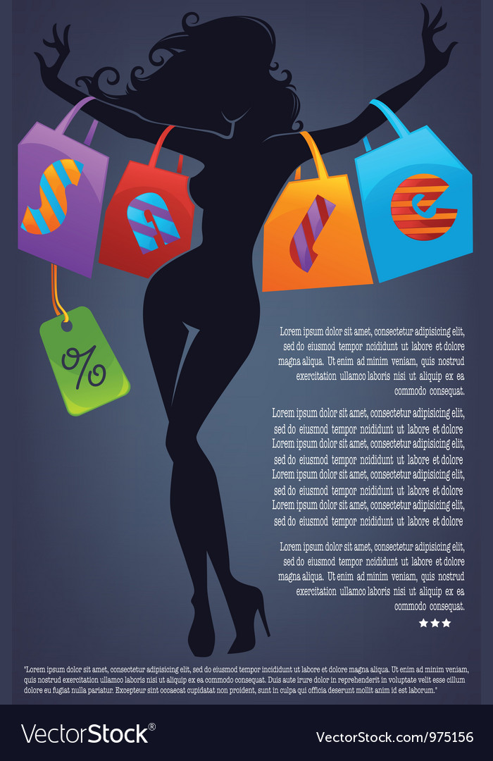 Commercial background with girl silhouette and sho vector   Price: 1 Credit (USD $1)