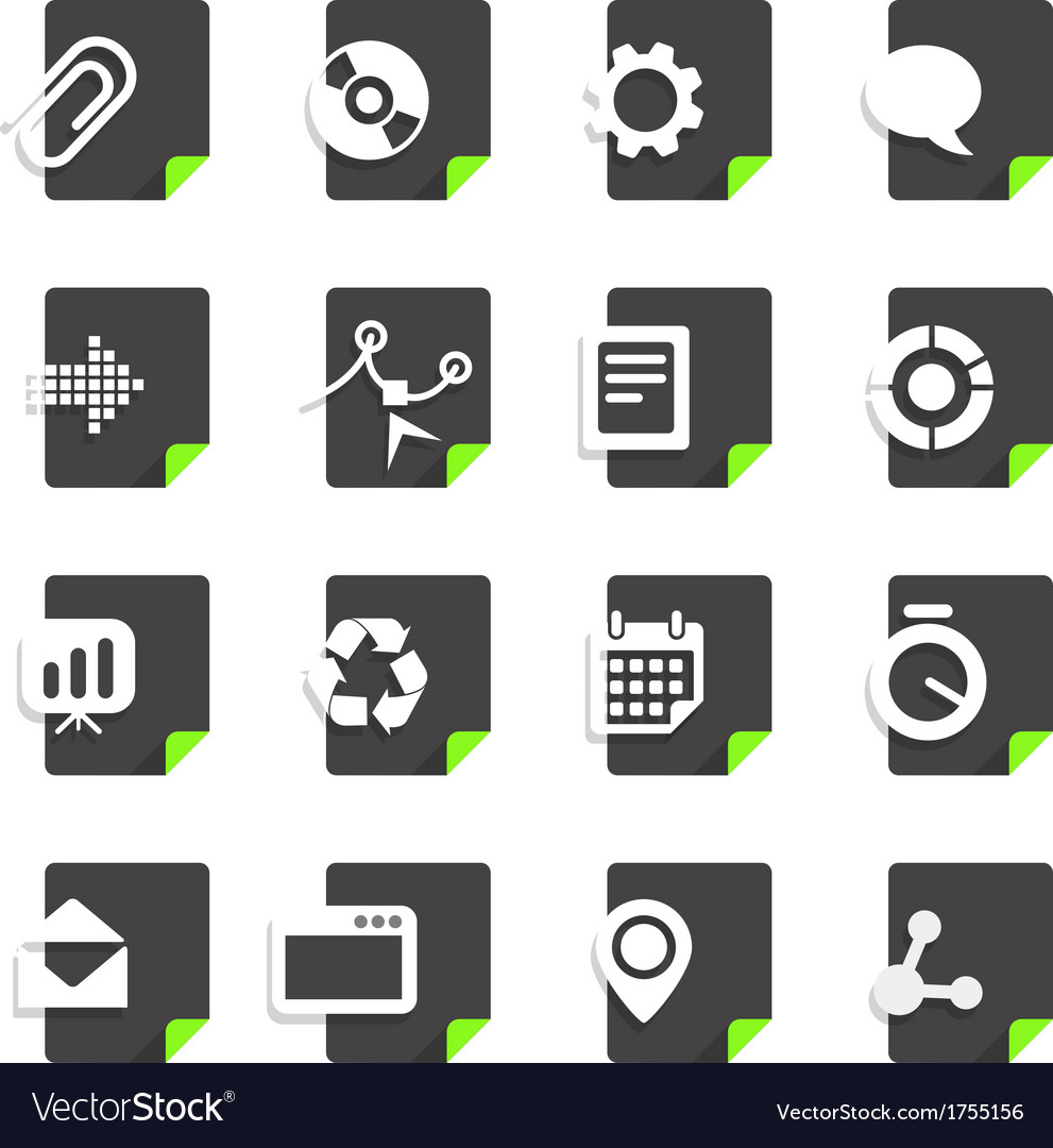 Different file types icons set isolated on white vector | Price: 1 Credit (USD $1)