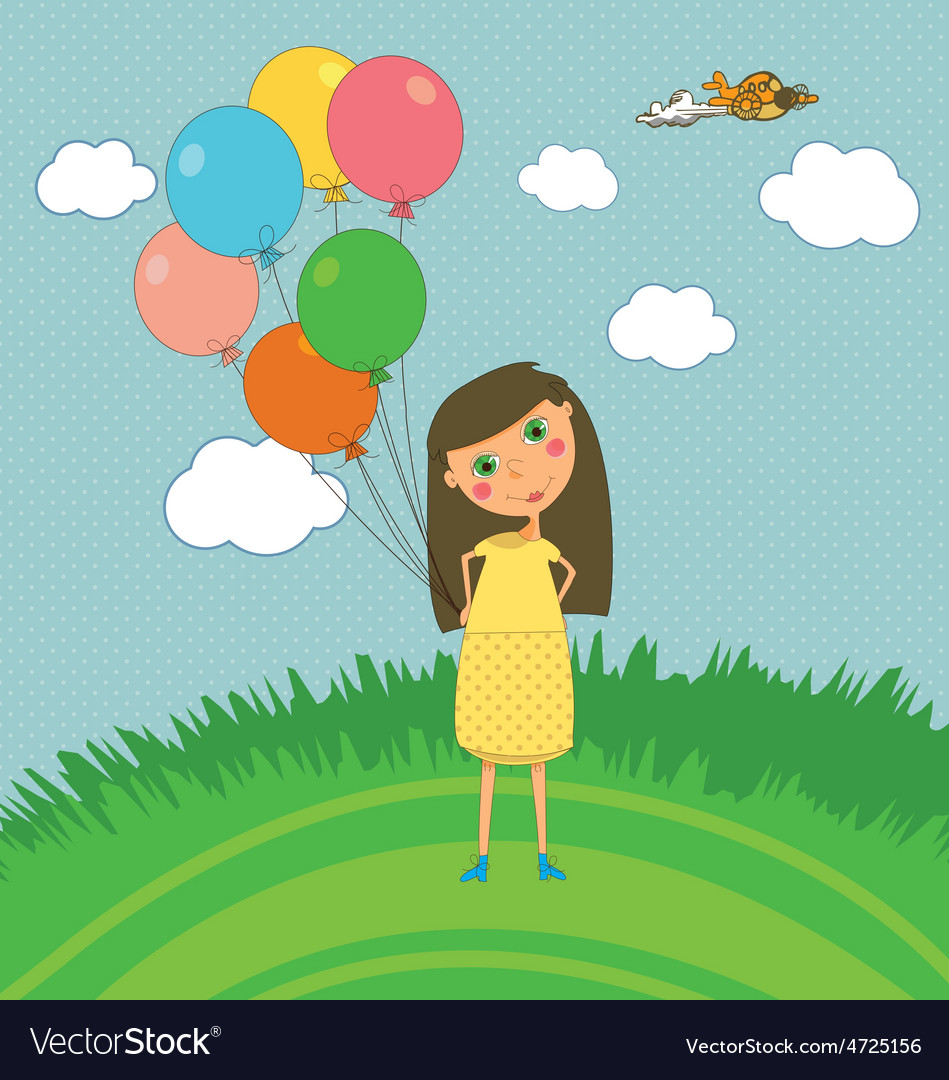 Girl outdoors with balloons vector | Price: 1 Credit (USD $1)
