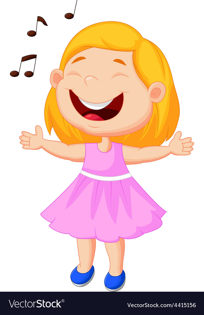 Little girl singing vector | Price: 1 Credit (USD $1)