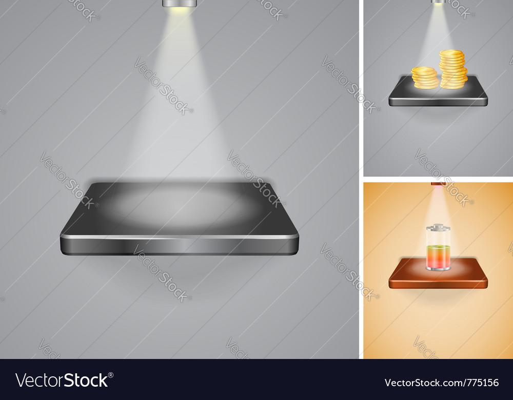Set of shelves with lighting vector | Price: 1 Credit (USD $1)