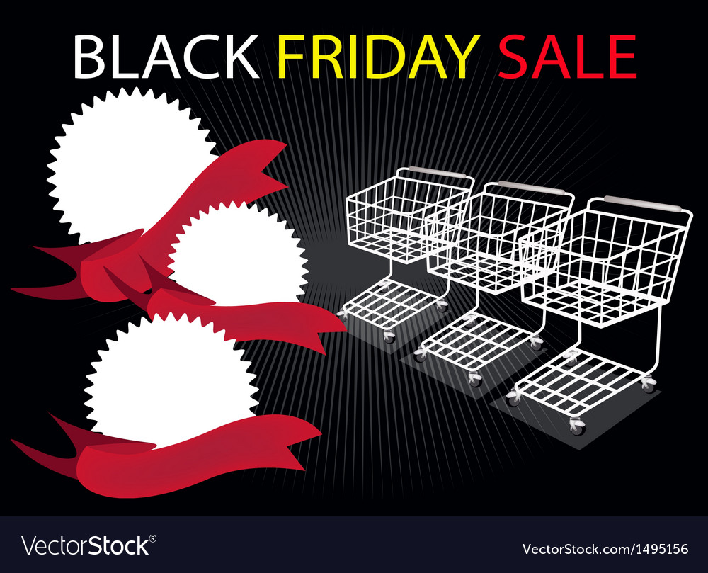 Shopping carts and banners in black friday vector | Price: 1 Credit (USD $1)