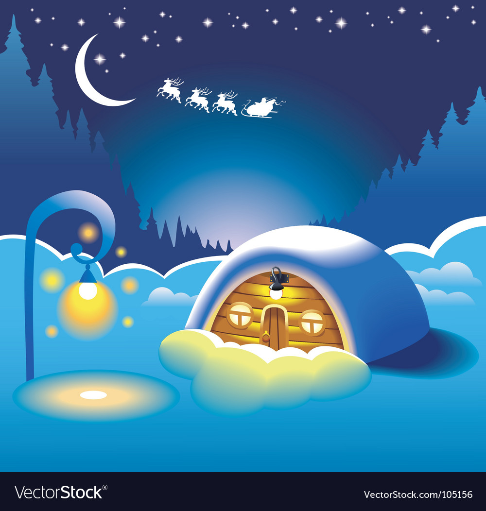 Snow-covered hut vector | Price: 1 Credit (USD $1)