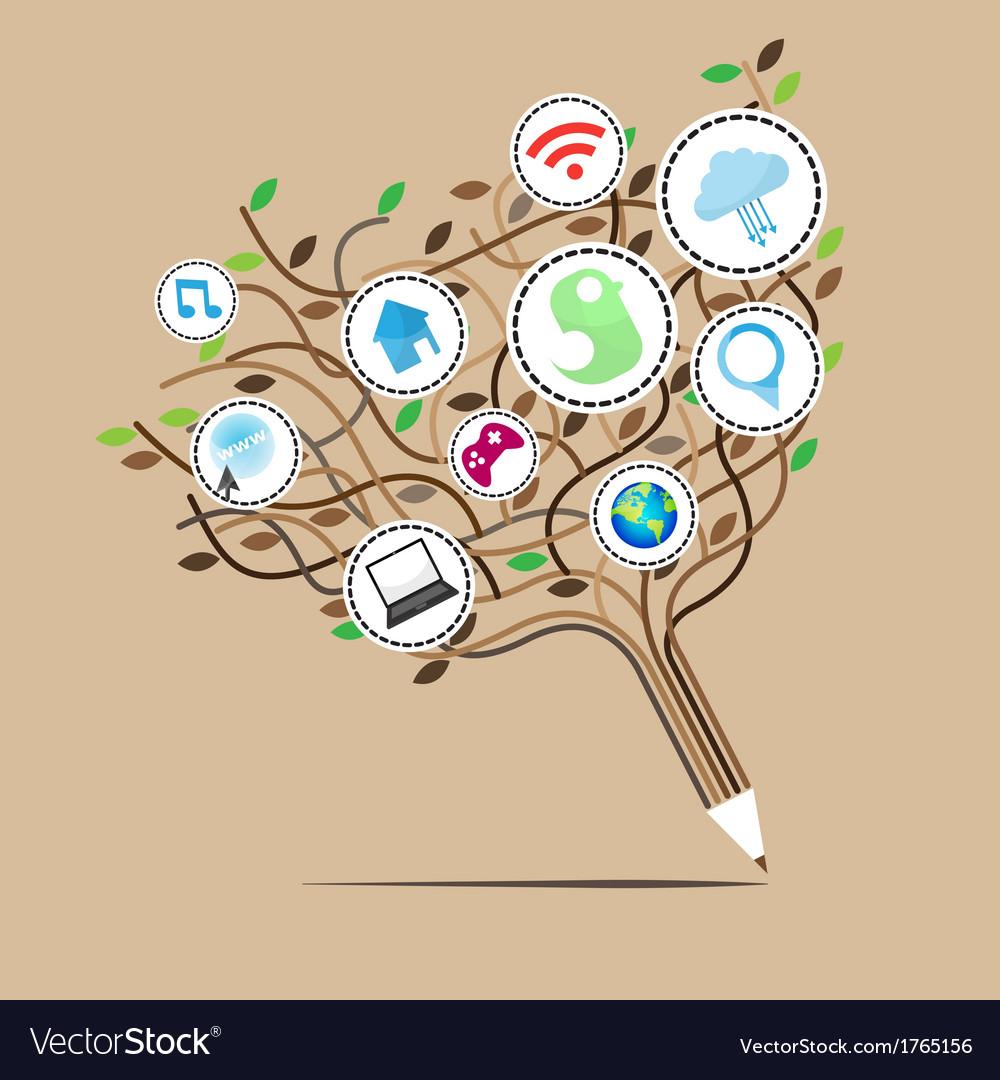 Social network education concept vector | Price: 1 Credit (USD $1)