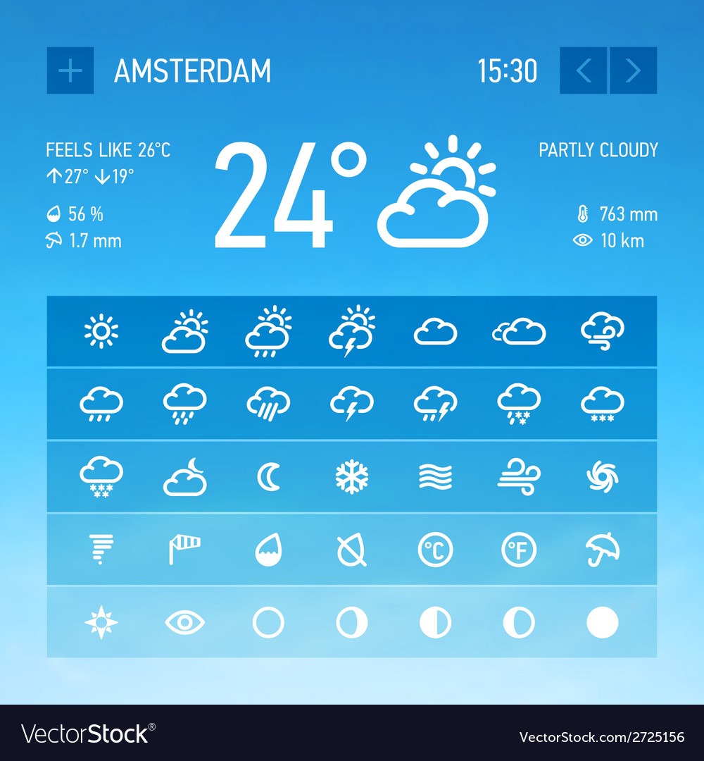 Weather widget icons set vector | Price: 1 Credit (USD $1)