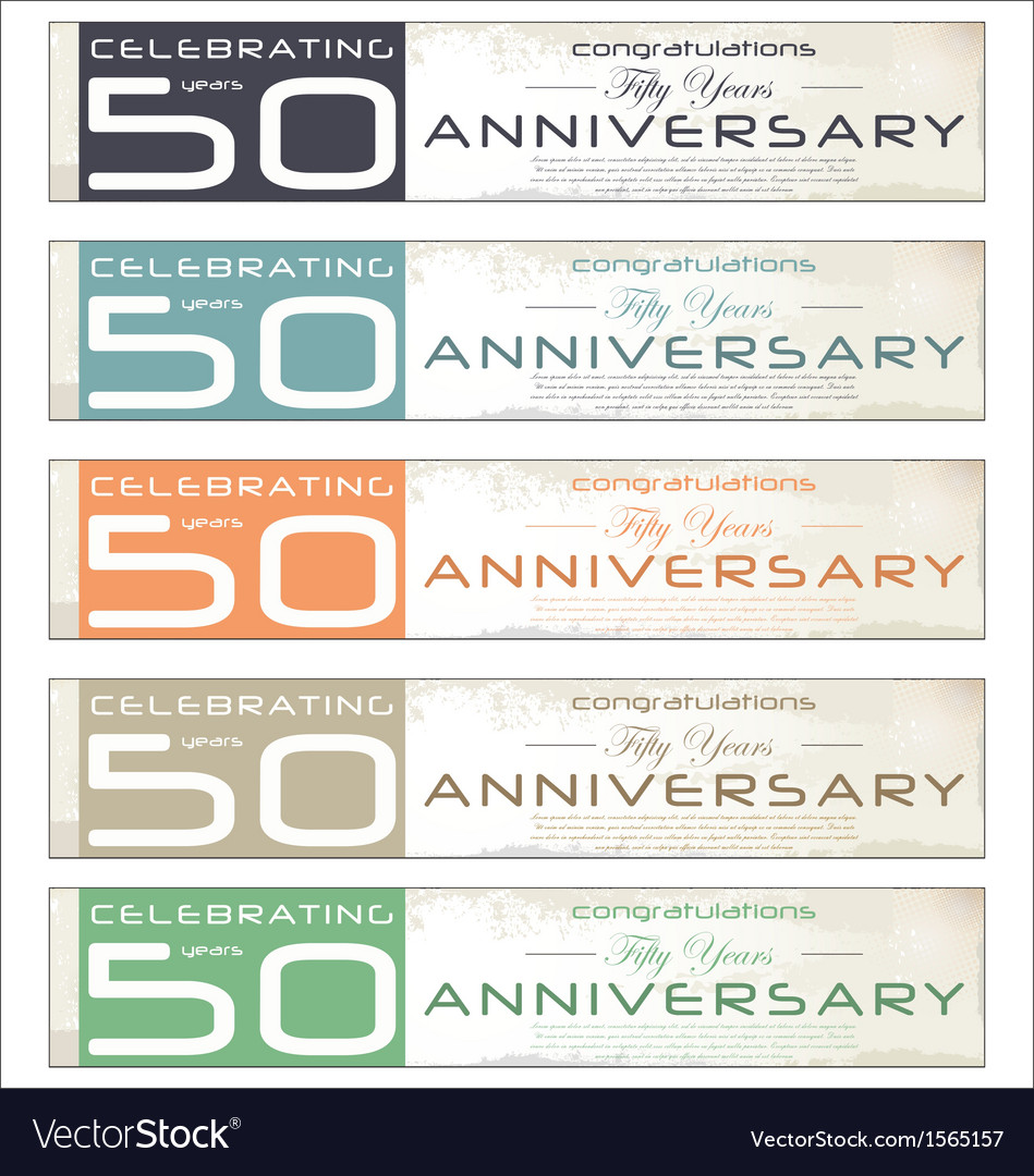 50 years anniversary retro banner set vector | Price: 1 Credit (USD $1)