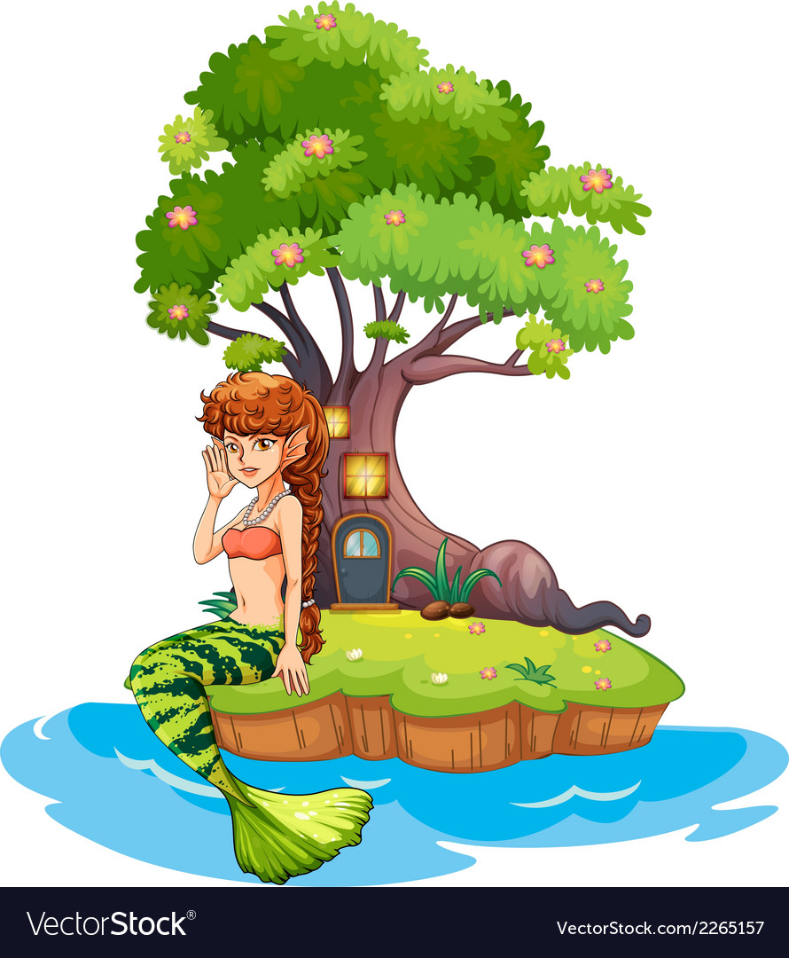 A beautiful mermaid near the treehouse vector | Price: 1 Credit (USD $1)