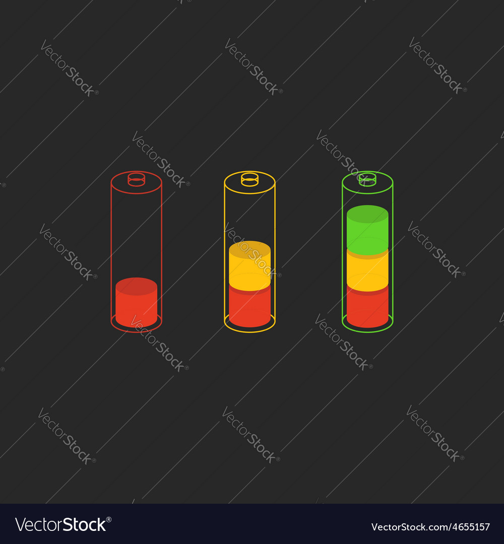 Battery level charge indicator icon vector | Price: 1 Credit (USD $1)