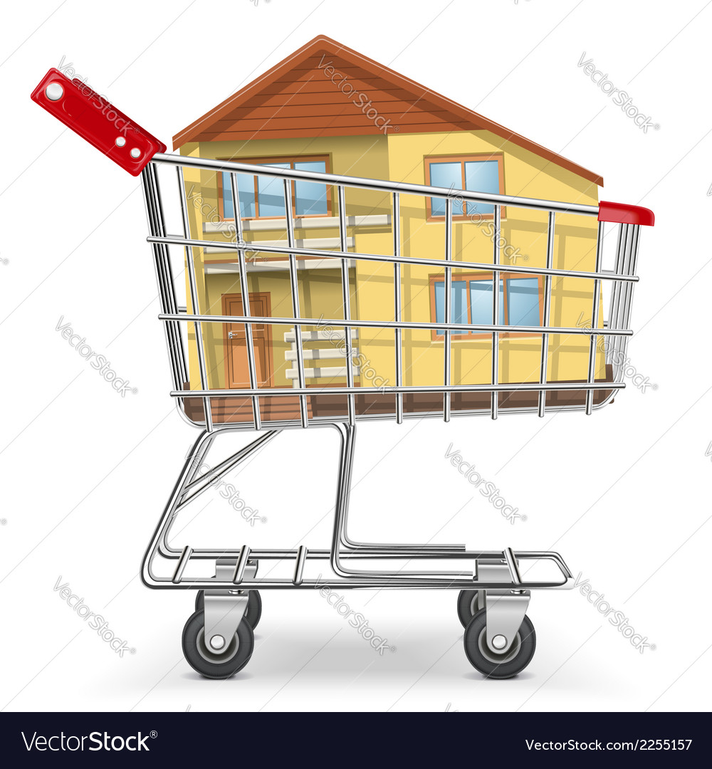 Cart with cottage vector | Price: 1 Credit (USD $1)