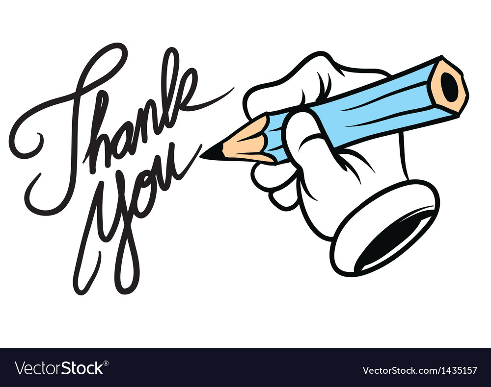 Cartoon hand writing thank you vector | Price: 1 Credit (USD $1)