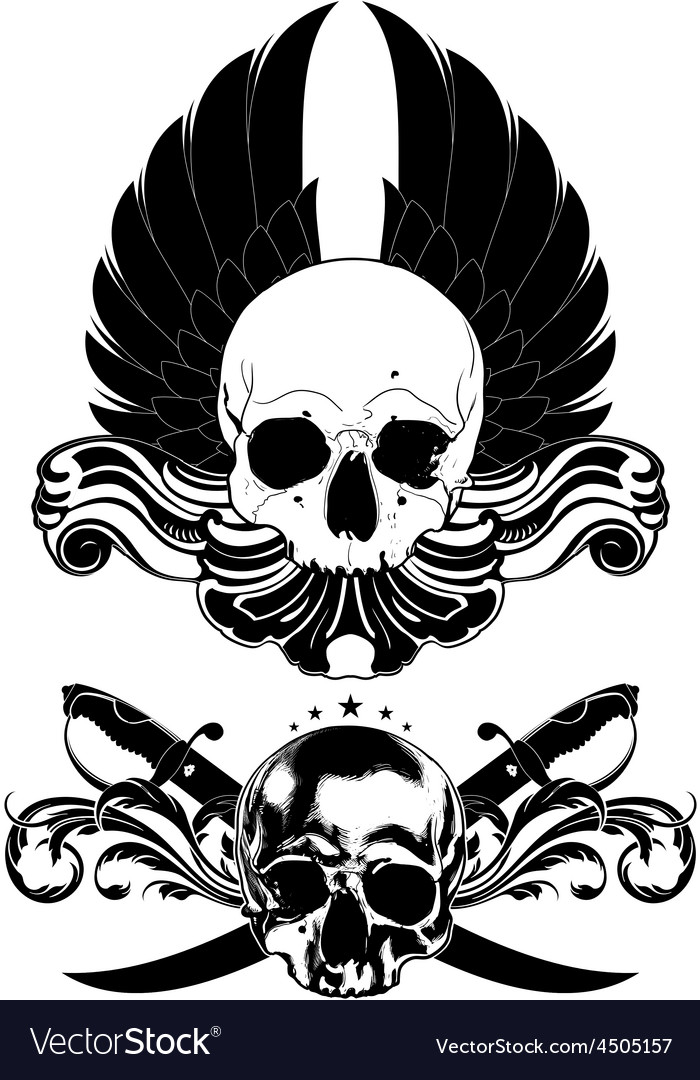 Decorative art background with skull vector | Price: 3 Credit (USD $3)