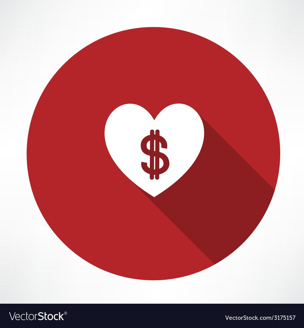 Money heart icon vector | Price: 1 Credit (USD $1)