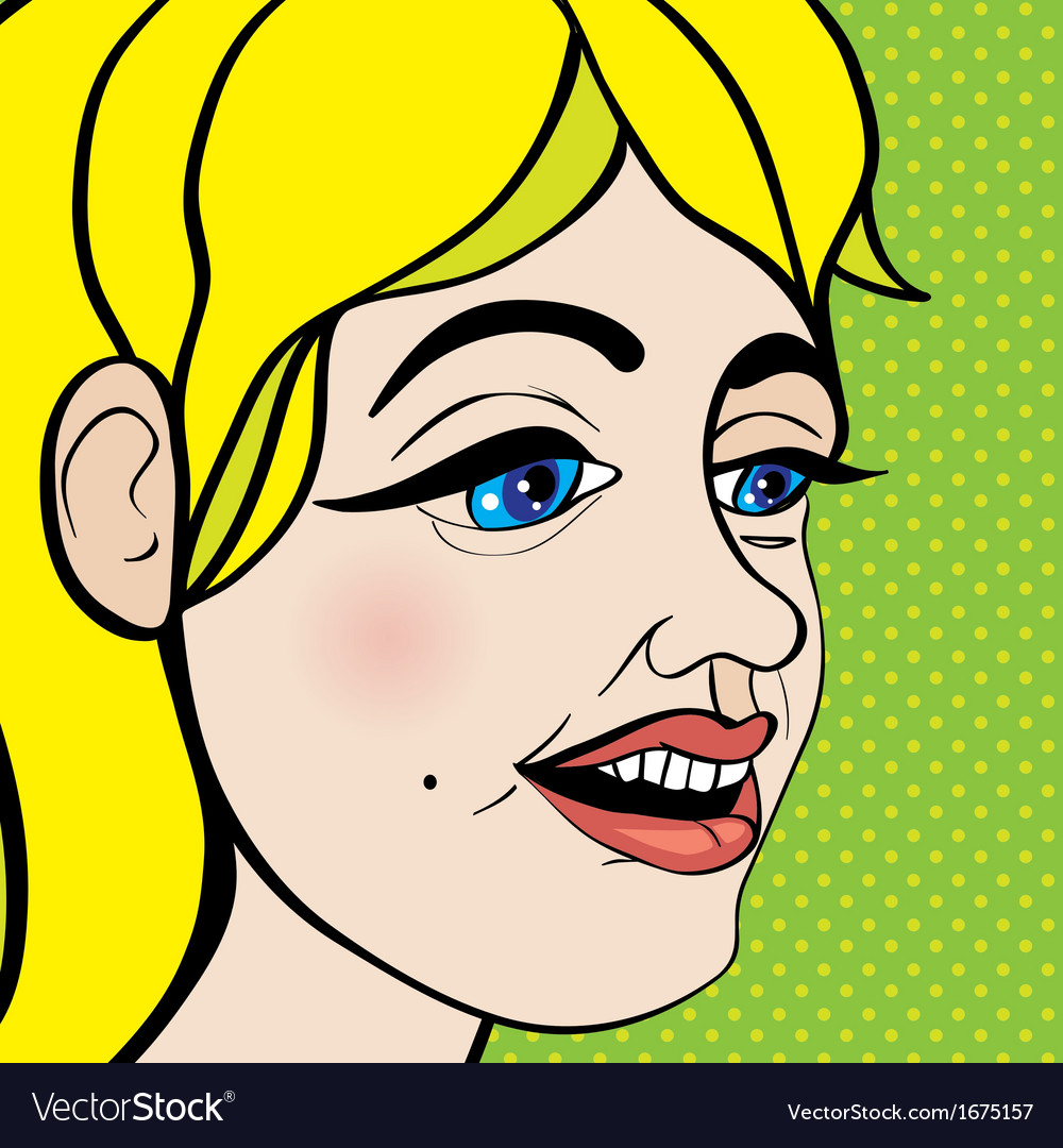 Pop art girl close up vector | Price: 1 Credit (USD $1)