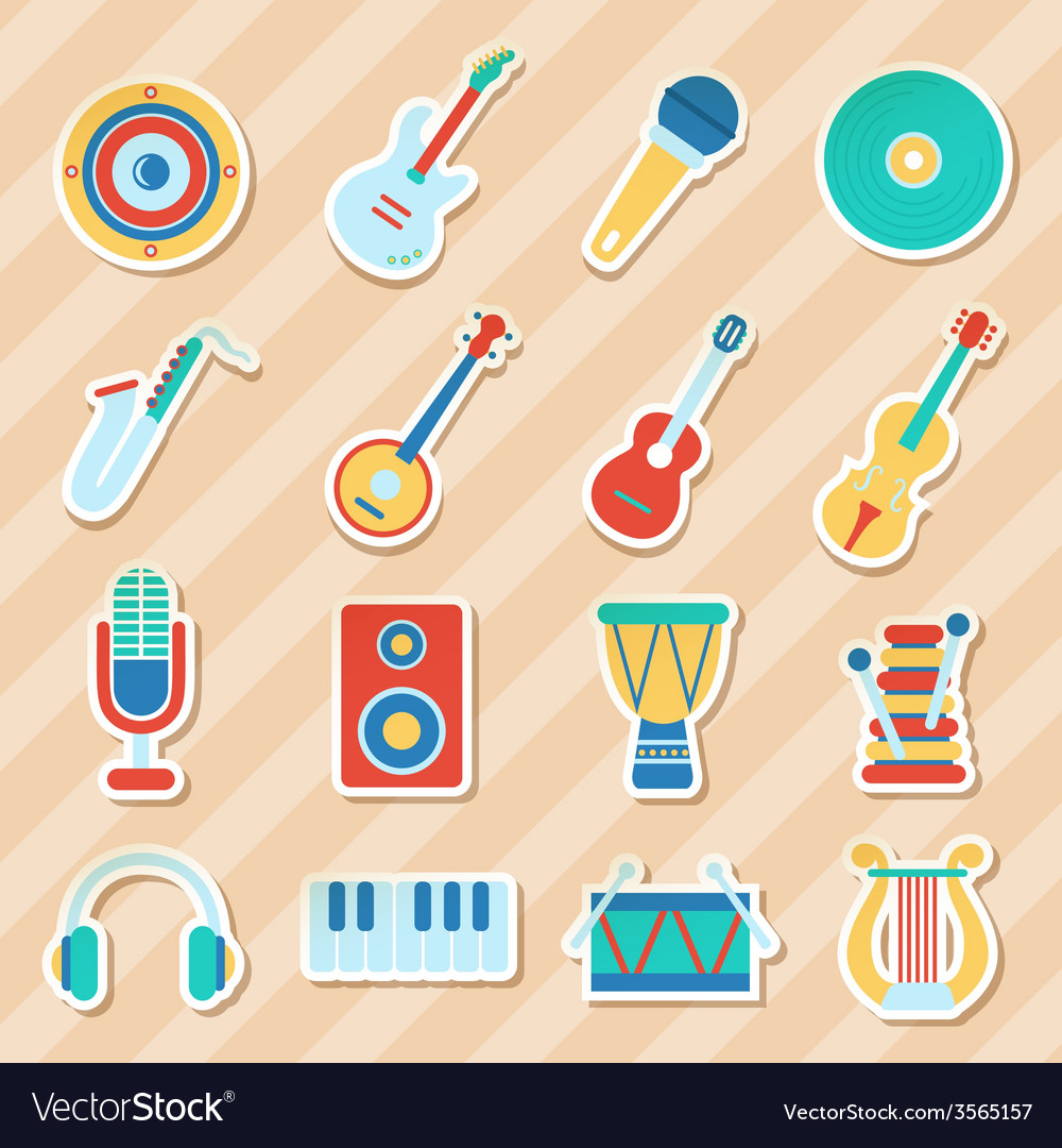 Set of musical stickers vector | Price: 1 Credit (USD $1)