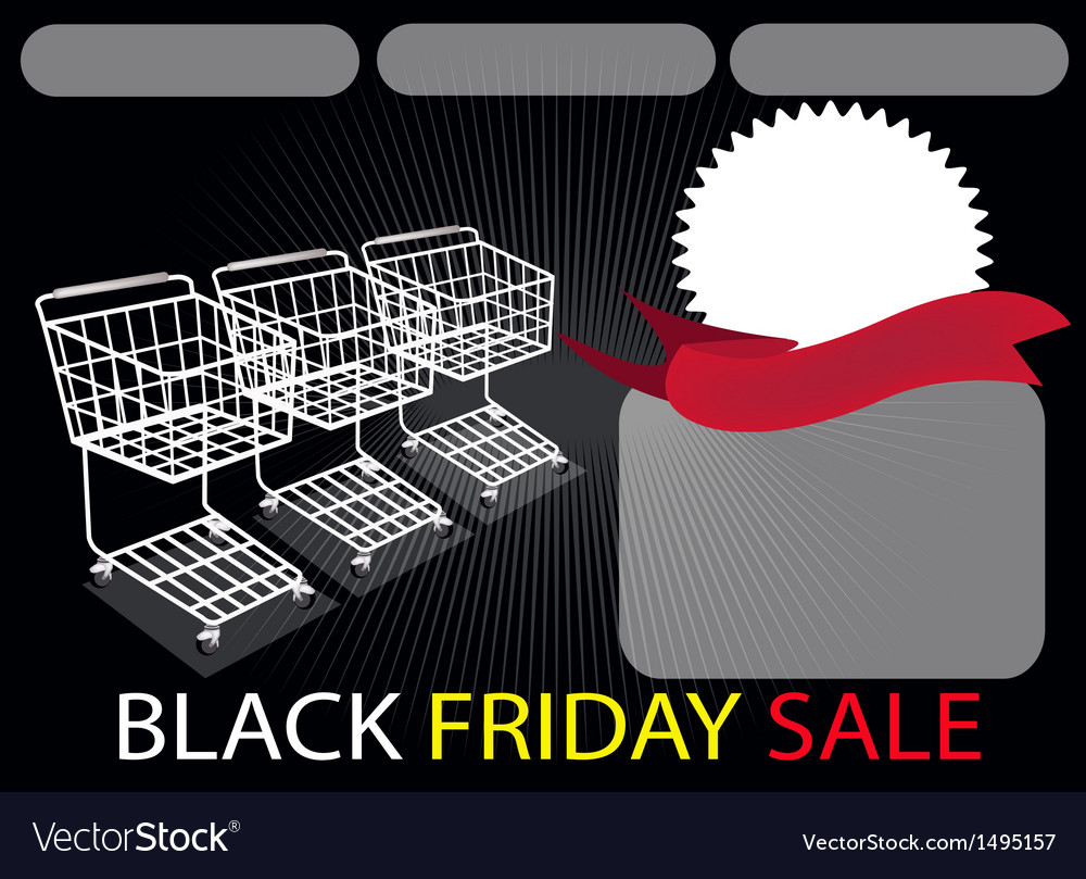 Three shopping carts and banner in black friday vector | Price: 1 Credit (USD $1)