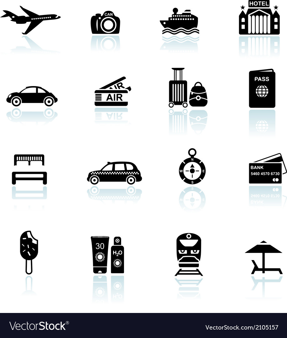 Travel icons black on white vector | Price: 1 Credit (USD $1)