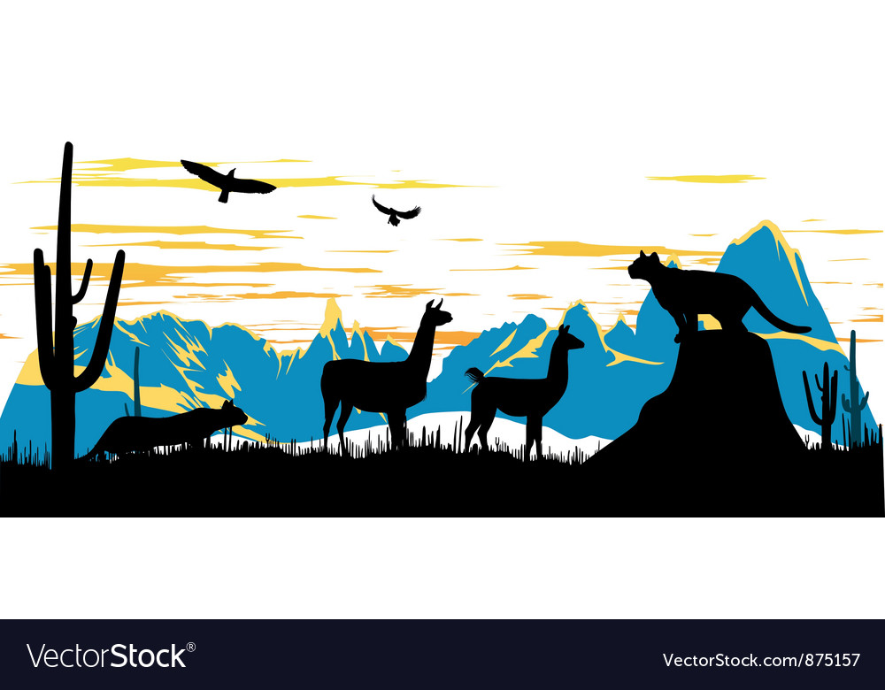 Wild panther llama and eagles in the morning vector | Price: 1 Credit (USD $1)