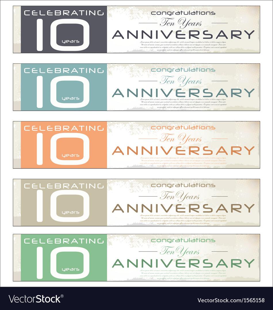 10 years anniversary retro banner set vector | Price: 1 Credit (USD $1)