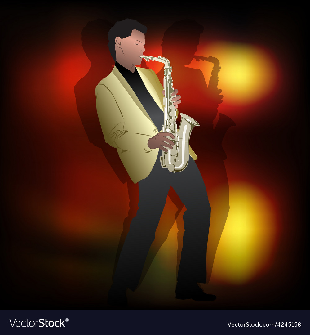 Abstract music jazz with saxophone player vector | Price: 3 Credit (USD $3)
