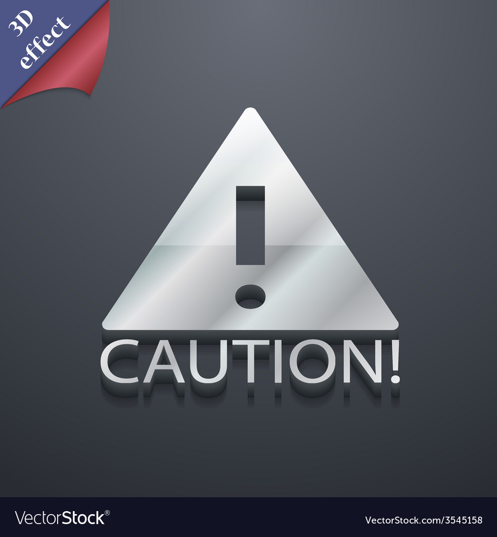 Attention caution icon symbol 3d style trendy vector   Price: 1 Credit (USD $1)