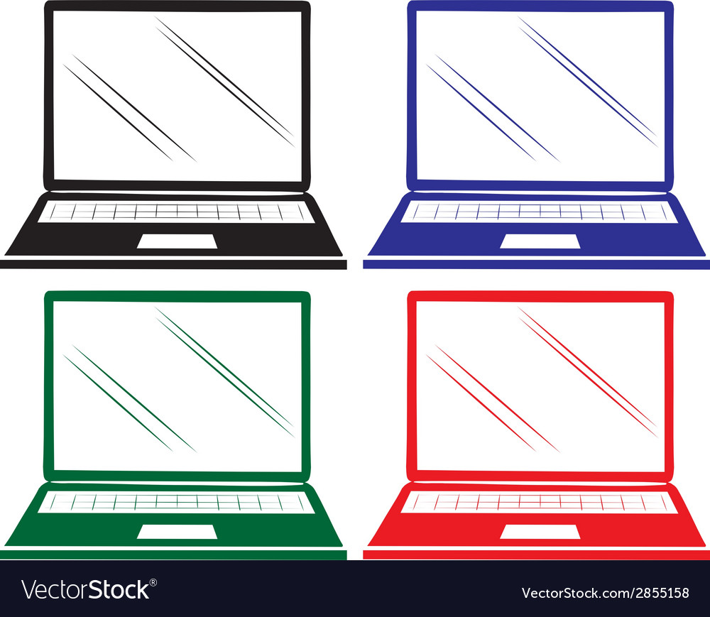 Four colourful laptops vector | Price: 1 Credit (USD $1)