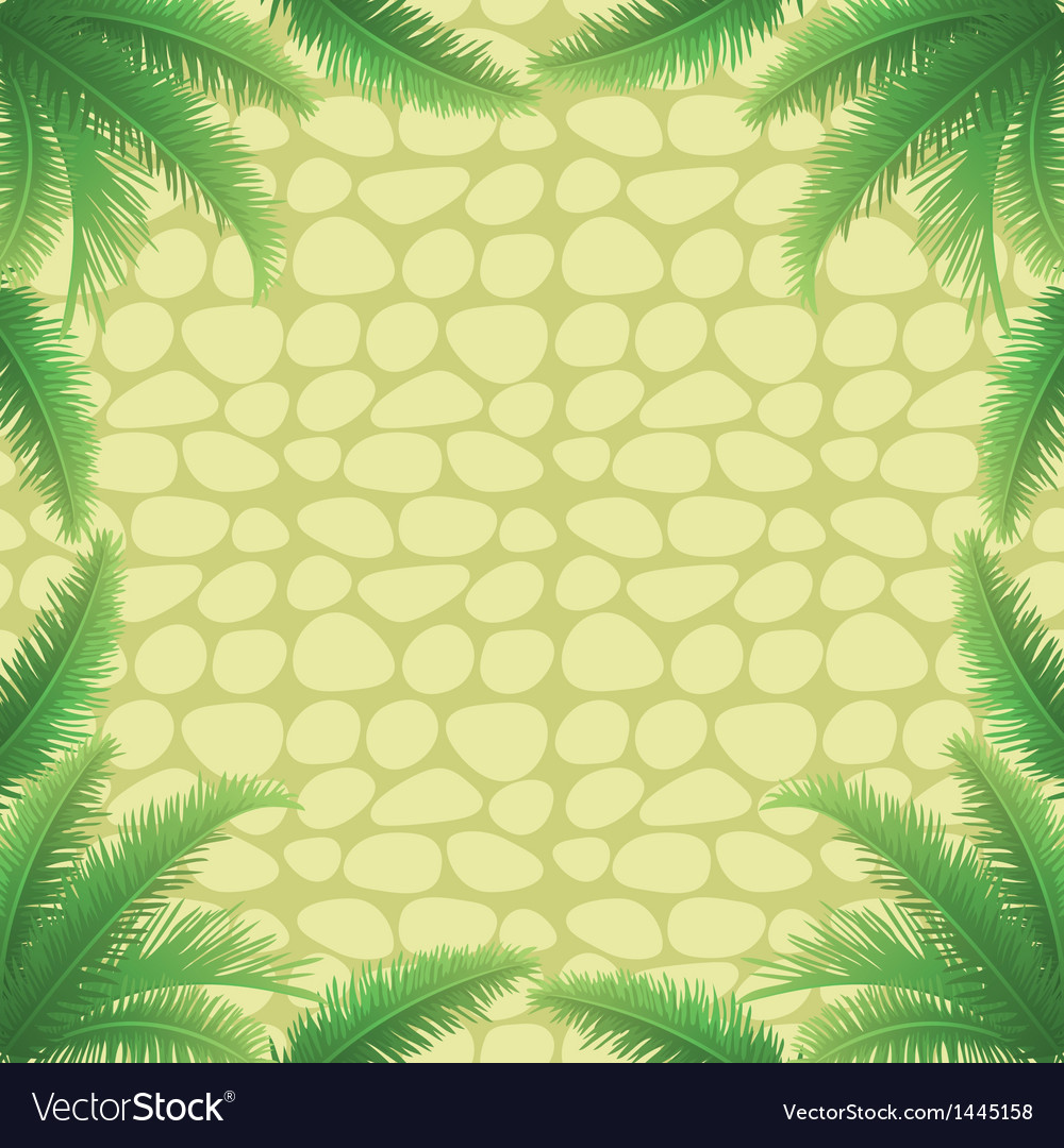 Palm leaves and stone wall vector | Price: 1 Credit (USD $1)