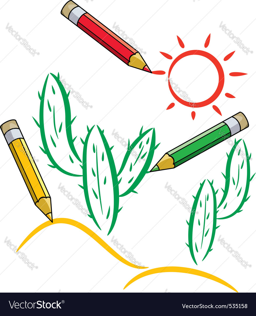 pencils draw cactus and sun in desert vector | Price: 1 Credit (USD $1)