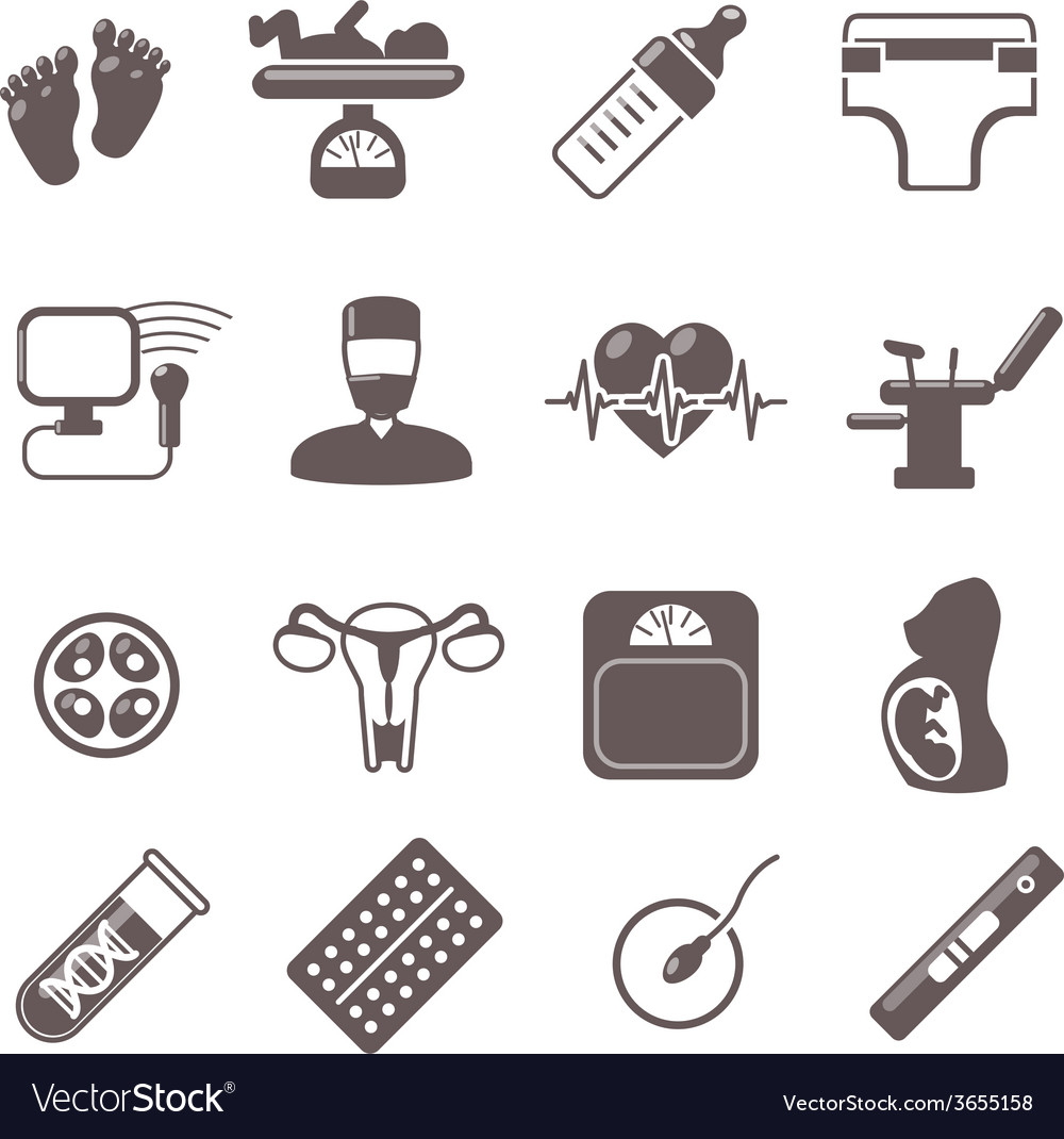 Pregnancy black icons vector | Price: 1 Credit (USD $1)