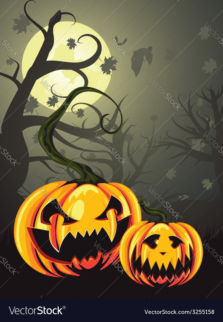 Scary pumpkins in forest vector | Price: 1 Credit (USD $1)