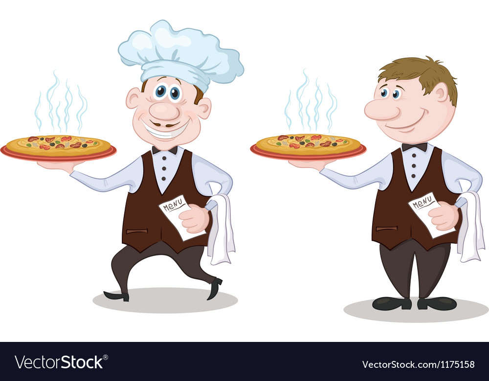 Waiters deliver a hot pizza vector | Price: 3 Credit (USD $3)
