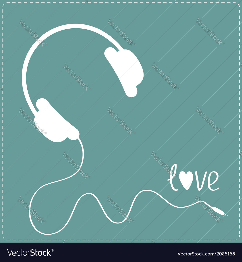White headphones with cord blue background vector | Price: 1 Credit (USD $1)