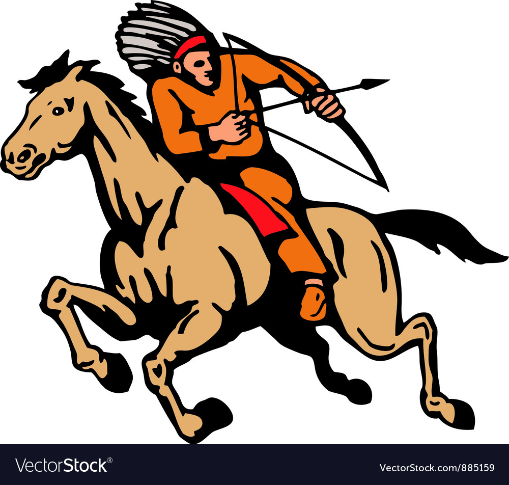 American indian riding horse bow and arrow vector | Price: 1 Credit (USD $1)