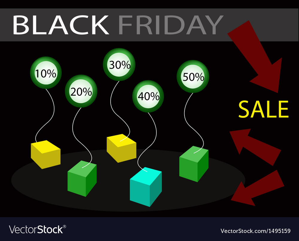 Black friday sale banner with percentages discount vector | Price: 1 Credit (USD $1)