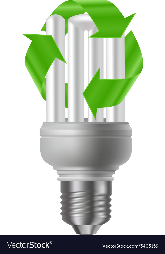 Energy saving bulb with recycle sign vector | Price: 1 Credit (USD $1)