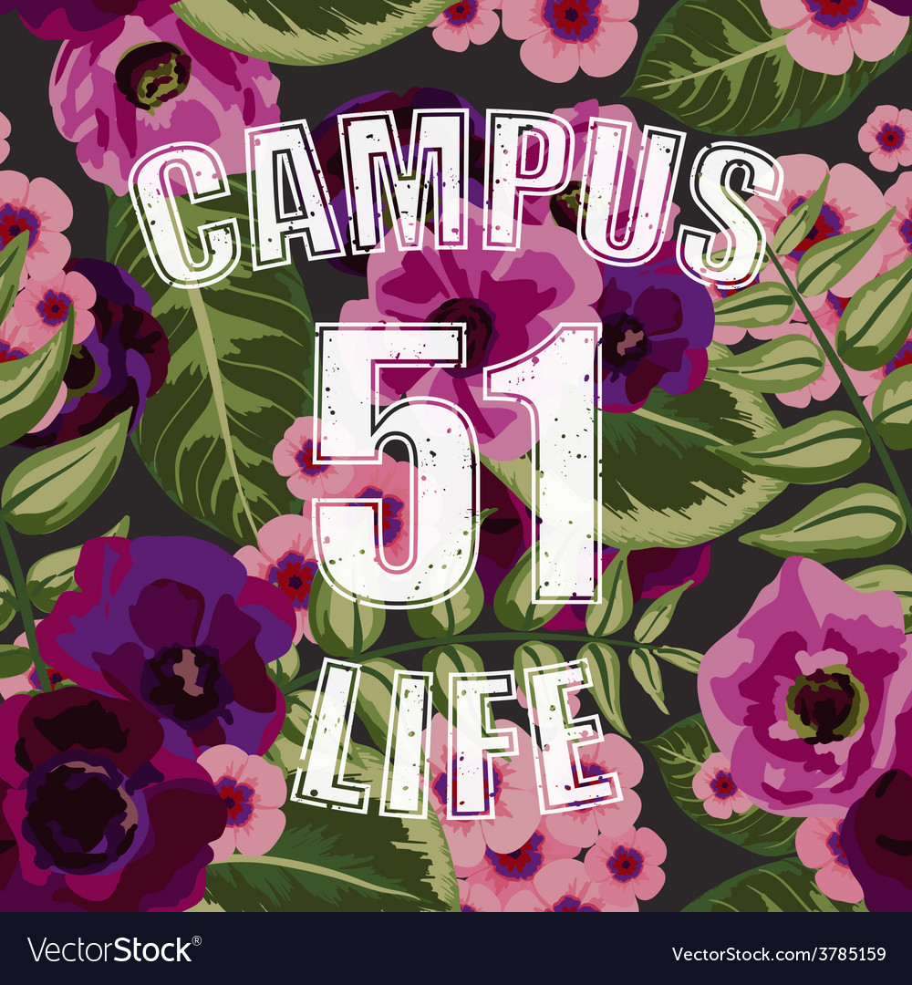 Flower tropical seamless pattern with campus life vector | Price: 1 Credit (USD $1)