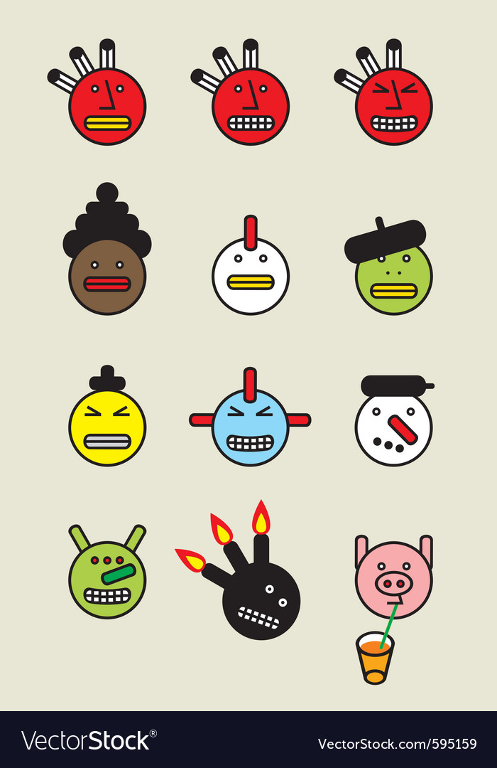 Funny icon faces vector | Price: 1 Credit (USD $1)