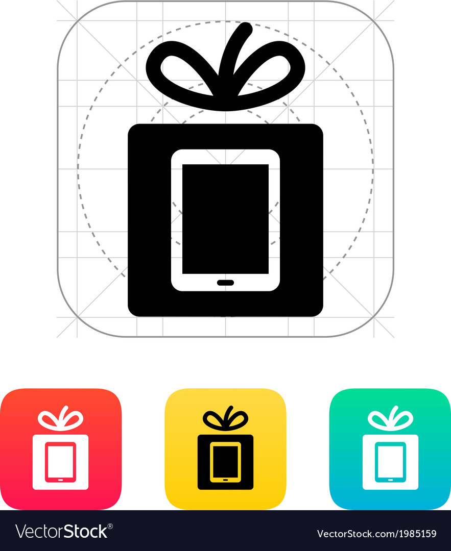 Gift tablet pc icon vector | Price: 1 Credit (USD $1)