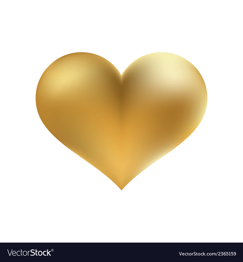 Golden shiny heart shape isolated  eps8 vector | Price: 1 Credit (USD $1)