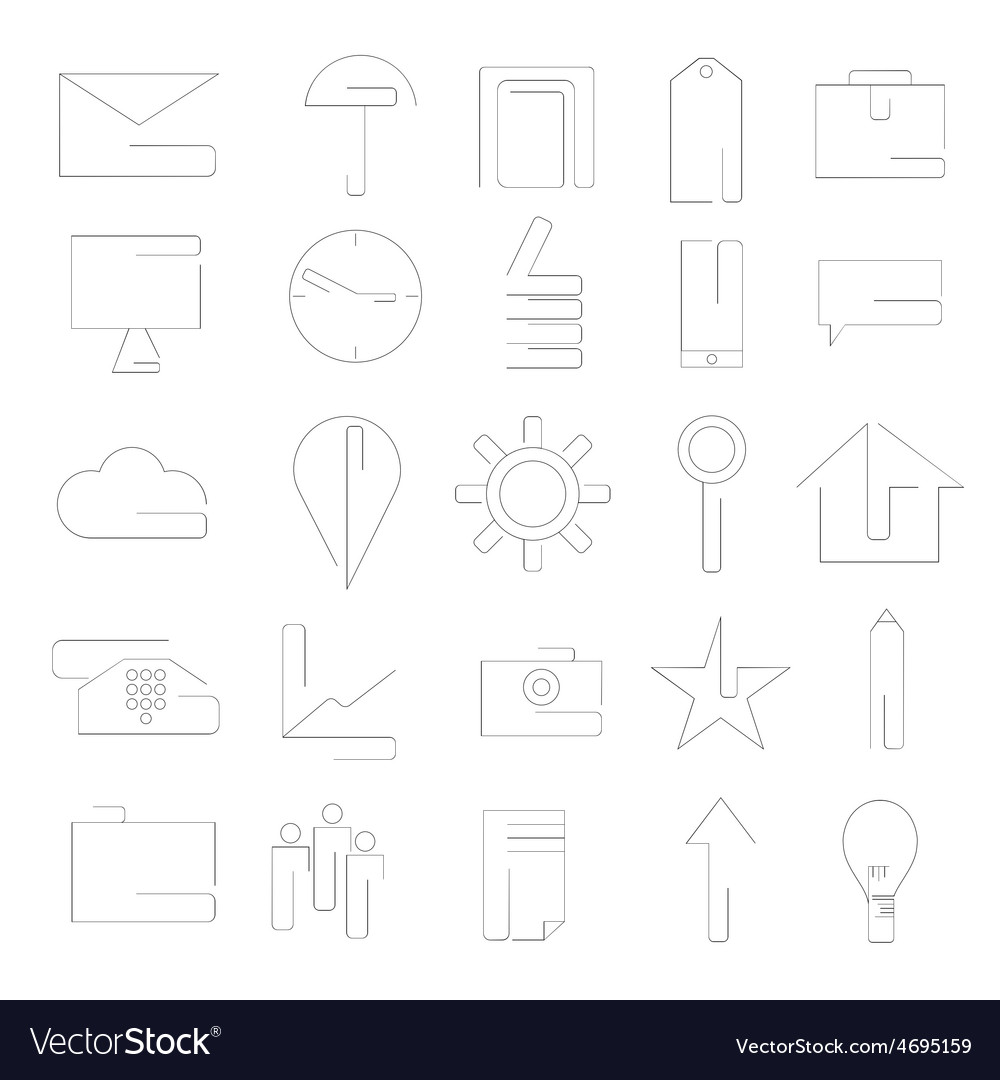 Line craft web icons set for business vector | Price: 1 Credit (USD $1)