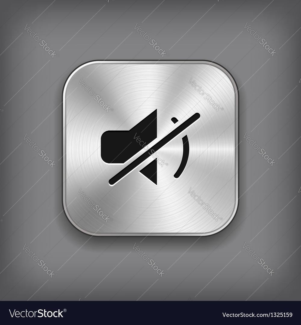Mute icon - metal app button vector | Price: 1 Credit (USD $1)