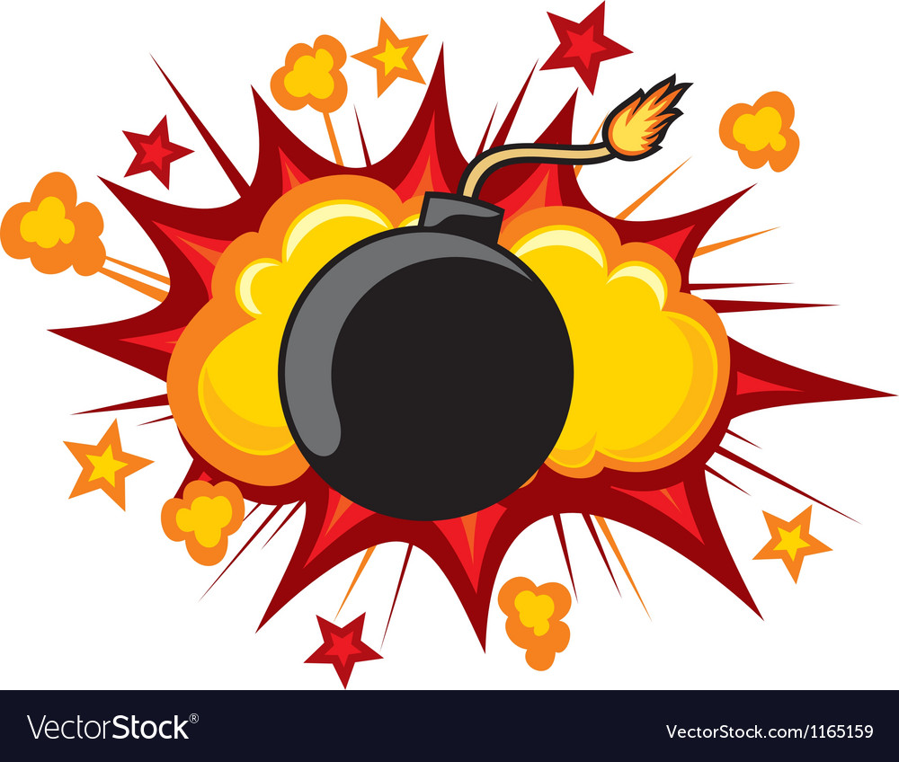 Old bomb starting to explode vector | Price: 1 Credit (USD $1)